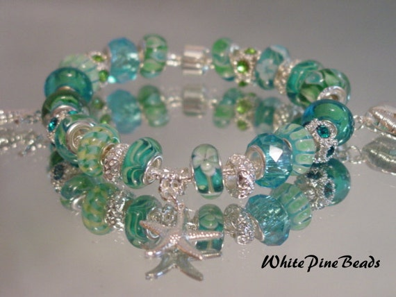 Tropical Sea Aqua Blue European Style Murano Glass Bead Charm Bracelet