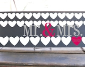 "Mr. and Mrs Heart heart inspired whimsical wedding sign 7.5X19"" in your choice of colors, perfect for that unique couple"