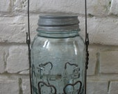 Vintage Wire Mason Jar Holder and Quart Atlas Mason Jar - Primitive - Rustic - Wedding- Blue