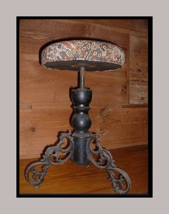 Antique Victorian Piano Stool Cast Iron Legs Tapestry Top Adjustable