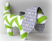 Gray and Green Chevron Dachshund Dog