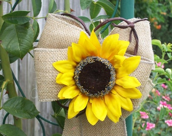 Sunflower Wedding, Burlap Pew Bows, Country Wedding Decor, Rustic, Church Aisle Markers, Gift Bows