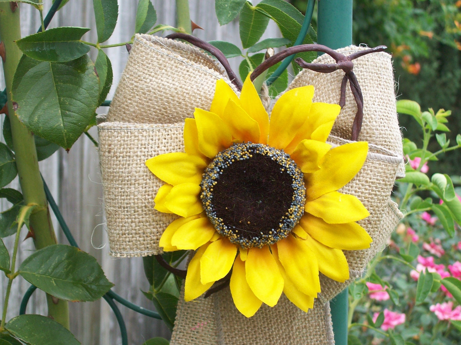 sunflower wedding burlap pew bows country wedding decor - Sunflower Decorations