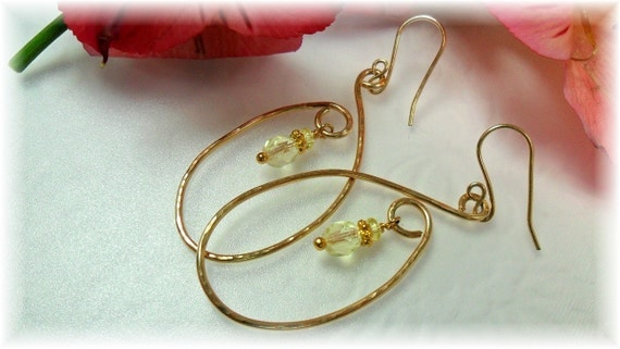 Gold Wire Earrings - Forged -  With A Dainty yellow Glass Bead - Hand Crafted by Chicartistique