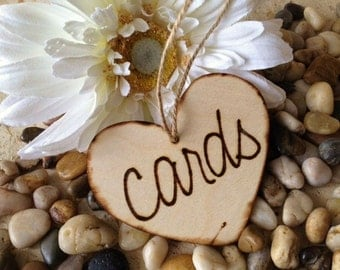 Rustic Wedding Decoration CARDS Sign for Wedding - Wood Heart to attach to your card box or card cage - so cottage chic