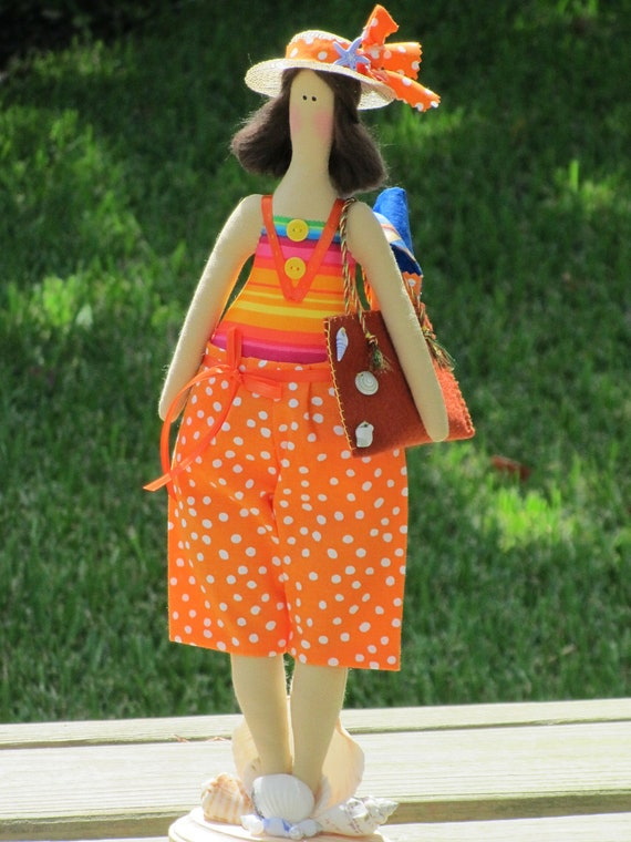 Custom order for Ellen- funny beach girl- cloth doll brunette plush doll nautical ,softie cloth doll