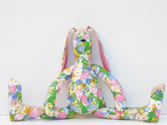 Cute bunny, hare,rabbit ,softie fabric doll - lovely bunny toy stuffed bunny- child friendly toy pink green blue yellow. Gift for children.