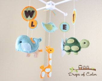 "Baby Crib Mobile - Baby Mobile - Nursery Elephant, Giraffe, etc Mobile ""ABC Baby Animals"" (You can pick your colors, animals and letters)"
