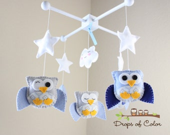 """Baby Crib Mobile - Baby mobile - Owl Mobile - Baby Nursery Mobile - """"Five little owls in the night"""" (You can pick your colors)"""