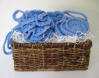Crochet Spa Gift Basket - Wash Cloths & Scrubbies - Cornflower Blue