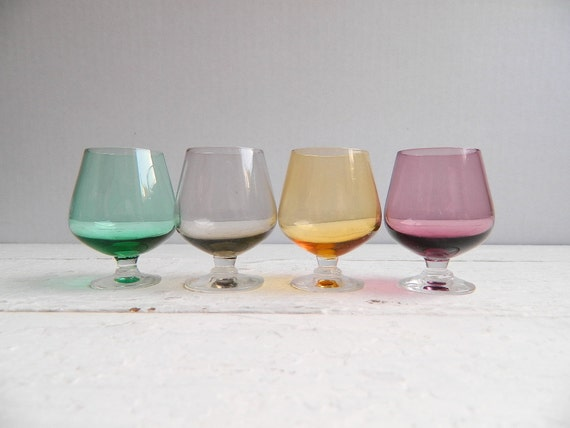 Vintage Glass Mini Snifters Cordials - Set of 8 Colorful Tinted Jewel Tone - Gorgeous Multi Colored