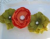"ORANGE and SAGE Green Handmade Flowers 3"" with Rhinestone Centers on IVORY Elastic Headband"
