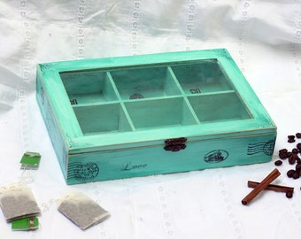Mint Tea Box Jewelry box Mint Jewelry Organizer Tea Storage Box Kitchen Organizer Multifunctional Box Wooden Box