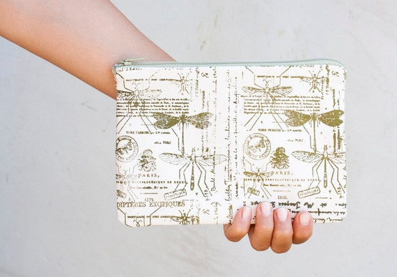 """Handmade   Clutches , Cute Pouch Dragonfly, Natural History,  Pencil Cases, perfect for School 5 1/2 x 8 """""""