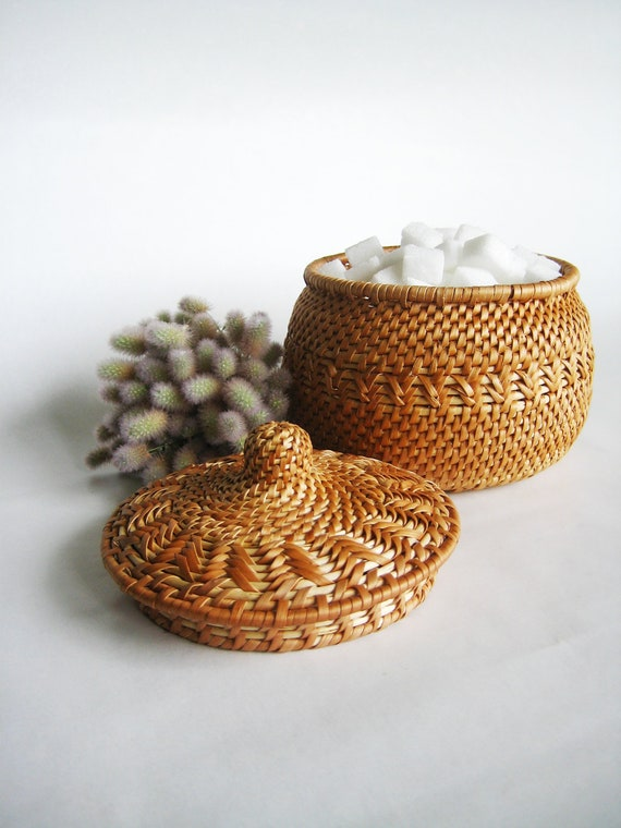 Harvest time decor idea Woven sugar bowl Wicker sugar basin Medium size chest Eco gift home decor Light straw color