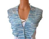 Hand knit multi-colored shawlette,scarf,shawl