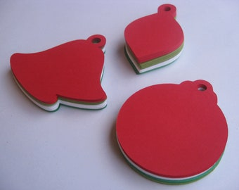 100 Christmas GIFT Tags. 3.5 inch. Red, White, Dark Ivy Green, & Christmas Green. Custom Orders Welcome.