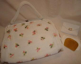 Lumured  Petite Bead purse-pink rose purse-white pearls-3 piece-1950s-vintage bag--pocket mirror-change purse-original tissue paper.