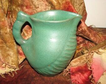 Art Pottery Antique Green Pitcher Natural Form