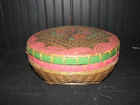 Antique HUGE Chinese Basket Hand Painted Bird Primitive
