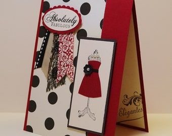 Handmade Dress Card, Dress Card, Girlfriend Birthday, Daughter Birthday, Diva Birthday, Classic Birthday, French, Fashionista, Red and Black