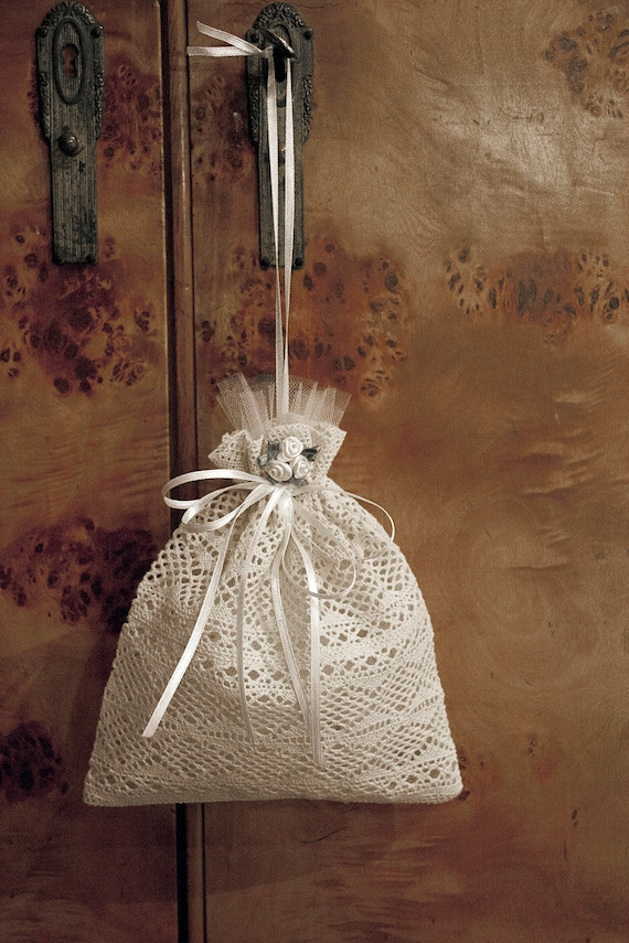 Wedding Favor Bags Lace : Wedding favor bag, Lace gift bag with flower ornaments, Baby Shower ...