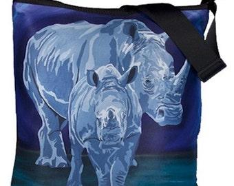 Rhino Large Bucket  Handbag by Salvador Kitti - From my Original Oil Painting,  Stalwart Linage