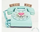 Aqua teal Rotary phone, Vintage phone,  CALL ME, heart, love, reach out and touch someone,  Wall art, fine art photographic print 8x8 - TaraDennyImages