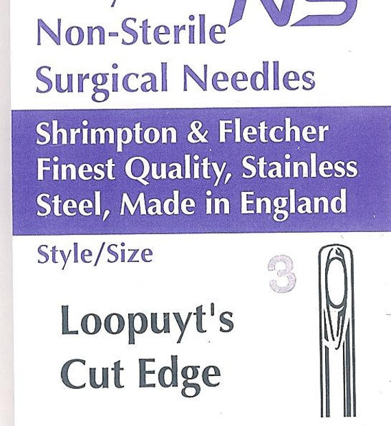 3 pack-Loopuyt's Cut Edge Needles-Strong, curved needles for leather, denim,upholstery, etc