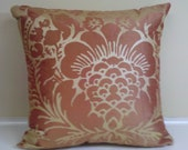 orange silk  with gold design pillow cover