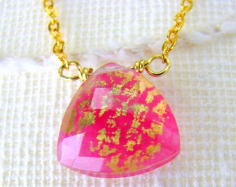 Pink Gold Necklace with Gold Chain