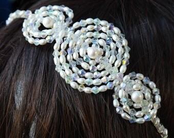 pearl crystal headband - freshwater pearl & clear AB crystal side tiara ivory rice pearl silver bridal alice band headband