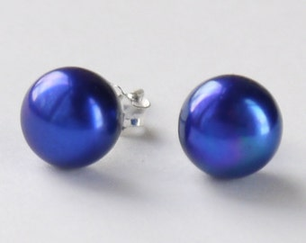 royal blue, cobalt blue 8mm freshwater pearl sterling silver stud earrings post earrings
