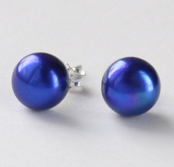 royal blue, cobalt blue 8mm freshwater pearl sterling silver stud earrings post earrings