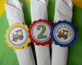 12 Train Birthday Party Paper Napkin Rings