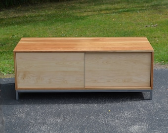 Modern Cherry wood and steel entertainment center