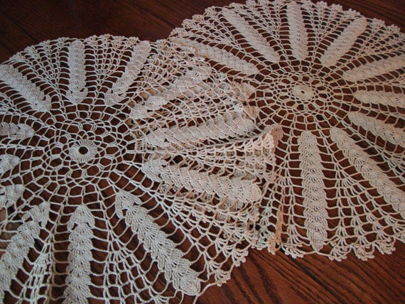 Beige Lace Doilies Set of Two Hand Crocheted Vintage