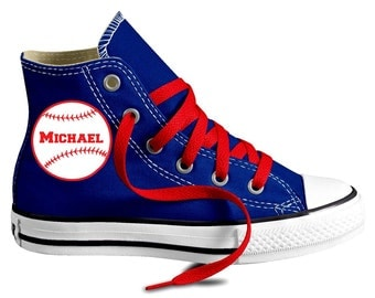 Personalized Baseball Custom Chuck Taylor Converse Youth Shoes  (4 to 7 yr)