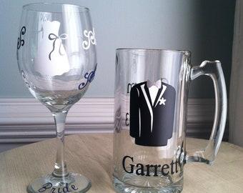 Bride and Groom Personalized Wine/Beer Wedding Glasses