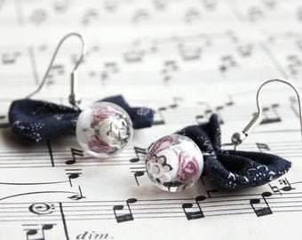Navy blue and pale pink fabric bow and glass lampwork bead earrings