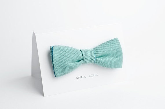 Mint bow tie - double sided
