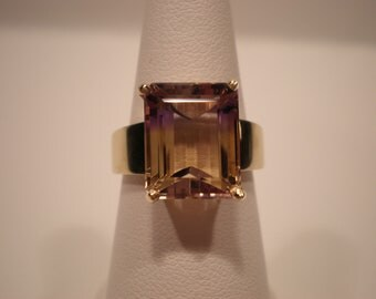 natural genuine Emerald-Cut Natural Bolivian Ametrine November February 14k yellow gold statement ring bicolor Nov Feb birthstone healing