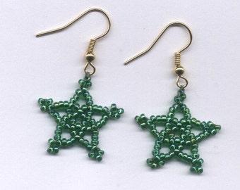 SALE! STAR Beaded Earrings - Choose Shade of Green