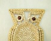 Woven Owl Basket, Owl Wall Hanging, Vanity Tray,