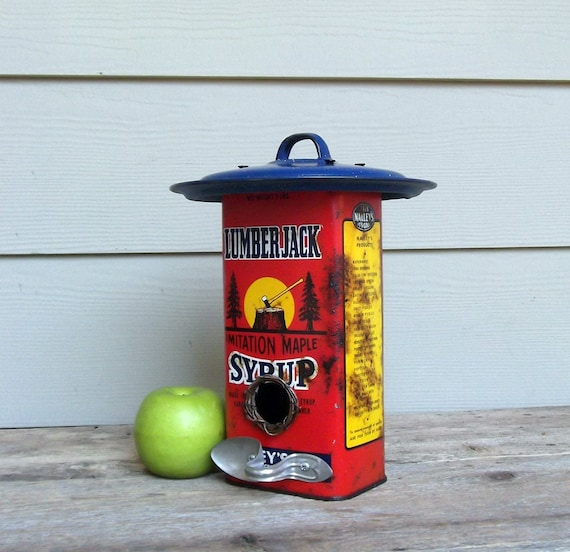 Vintage Syrup Can Birdhouse, Red Birdhouse, Whimsical Birdhouse, One of a Kind, Decorative Birdhouse, Outdoor Birdhouse, Tin Can Birdhouse