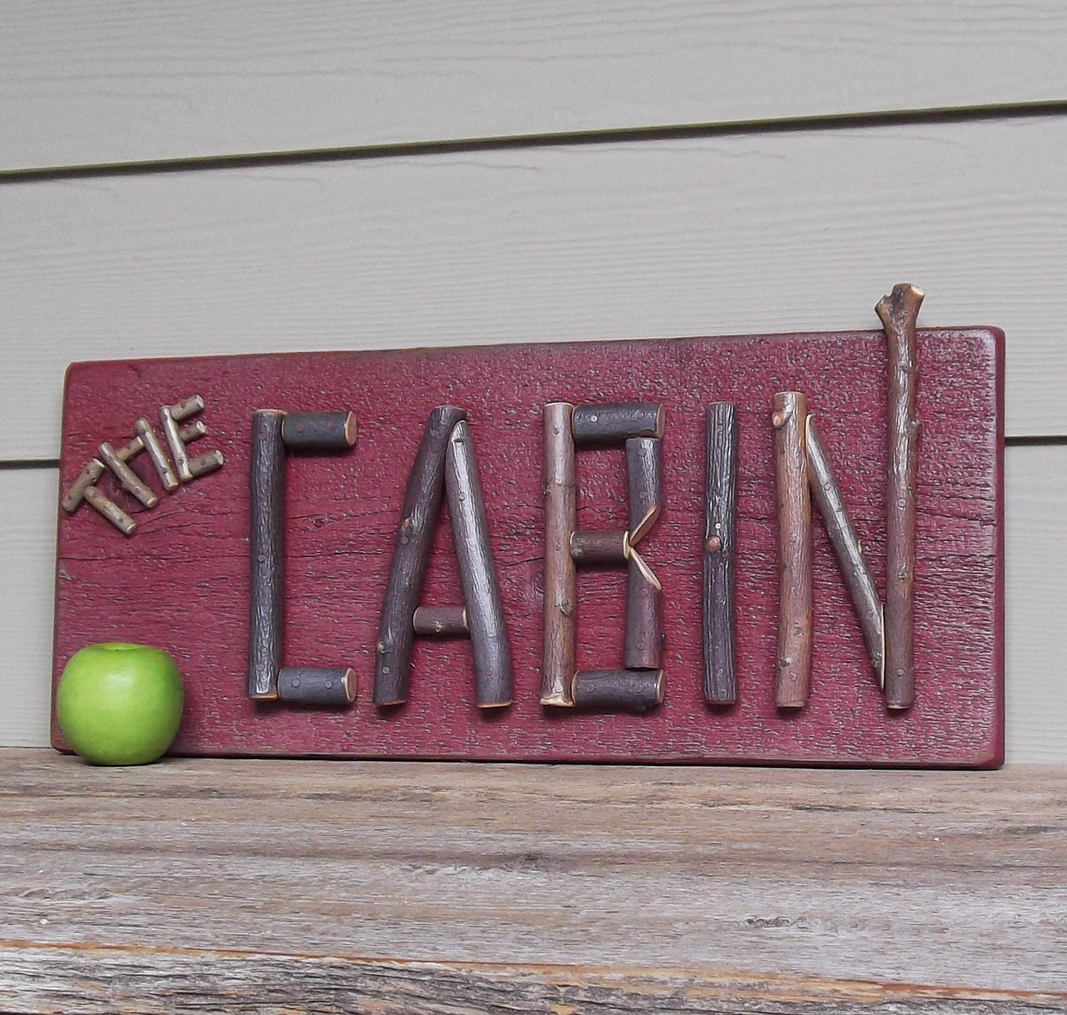 Rustic Cabin Sign Twig Letters Primitive Sign Red Wood
