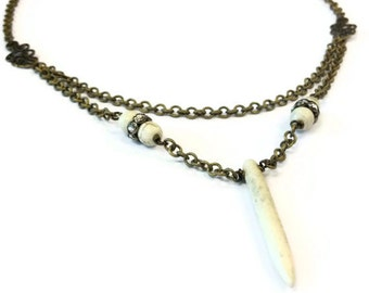 White Turquoise Necklace - Spike Pendant Jewellery - Brass Jewelry - Bohemian - Gemstone - Point - Modern - Multi Strand - Crystal N-340