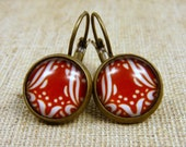 CLARA from PARIS - Earrings with Glass - Bronze with Art Nouveau - motif in red - 14mm diameter