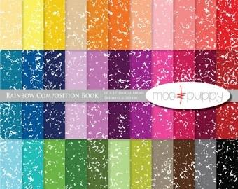 Digital Scrapbook Paper Pack  --  Rainbow Composition Book -- INSTANT DOWNLOAD