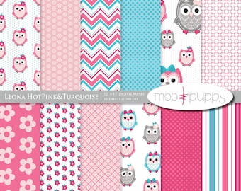 Owl Digital Scrapbook Paper  -  Leona HotPink&Turquoise  -- INSTANT DOWNLOAD